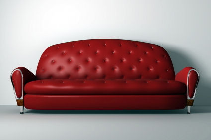 Red Leather Couch Decorate Apartment