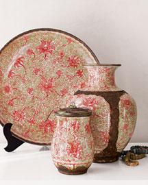Handcrafted porcelain vase charger lidded jar